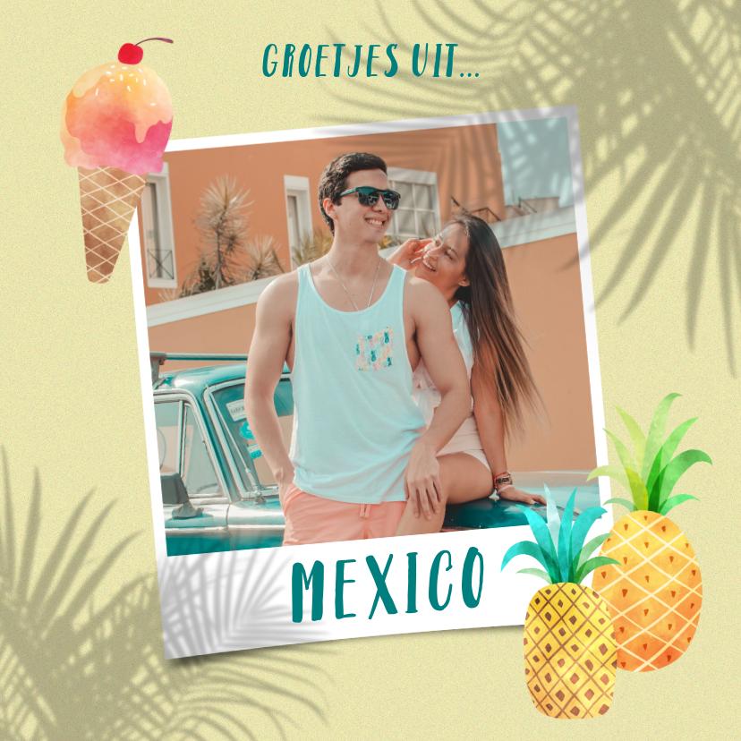 Vakantiekaarten - Vrolijke vakantiekaart foto, palm schaduwen en ananassen