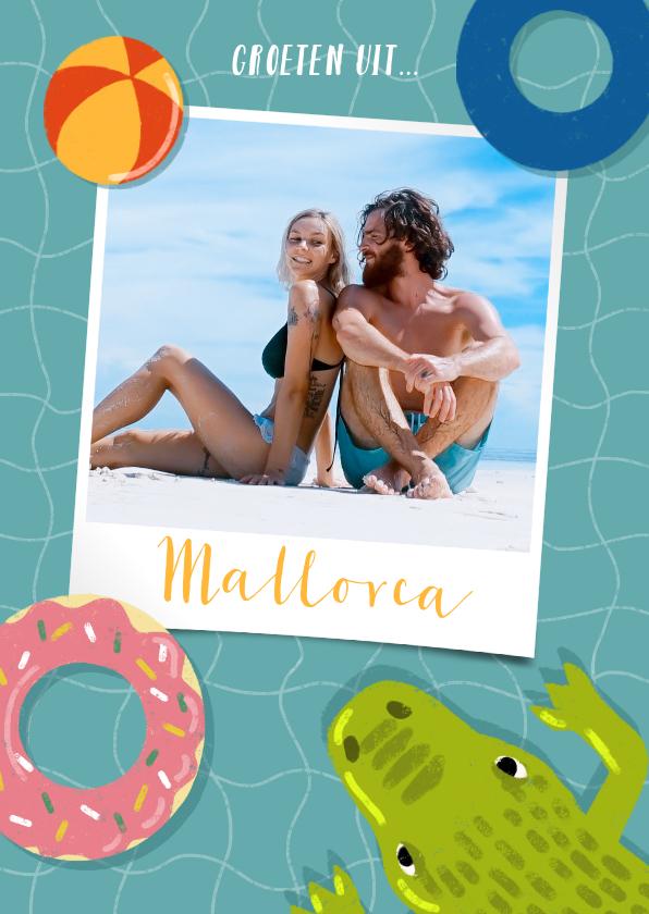 Vakantiekaarten - Vrolijke vakantiekaart zwembad, zwembanden, krokodil en foto