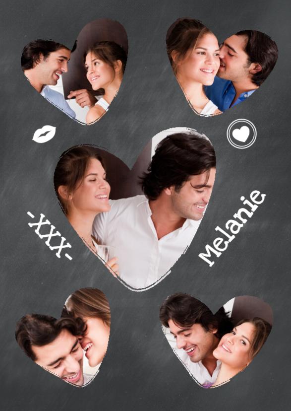 Valentijnskaarten - Collage Krijtbord hartjes - BK