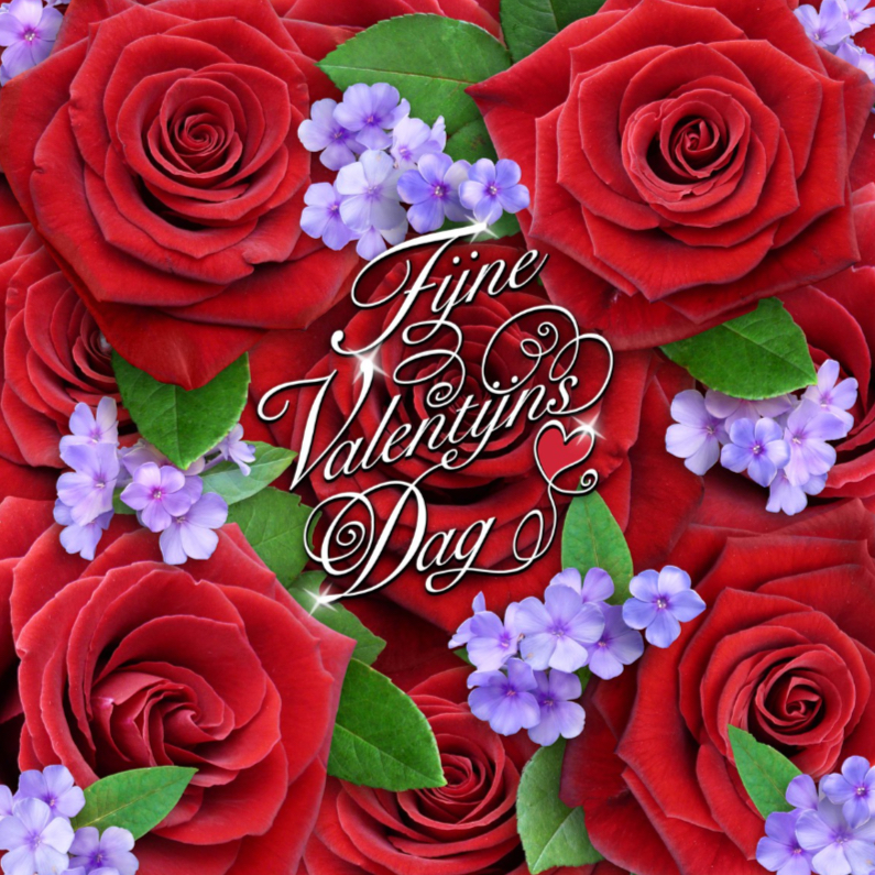 Valentijnskaarten - Fijne Valentijns Dag met rode rozen en sierlijke tekst