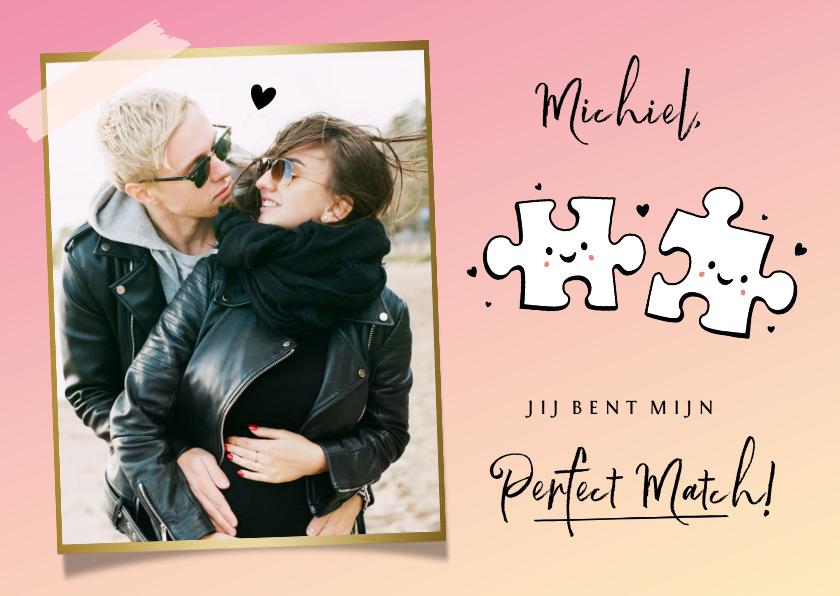 Valentijnskaarten - Hippe valentijnskaart met eigen foto en puzzelstukjes