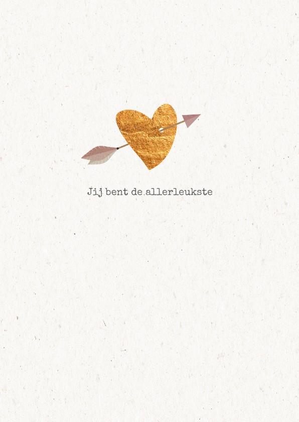 Valentijnskaarten - Hippe valentijnskaart met koperen hartje
