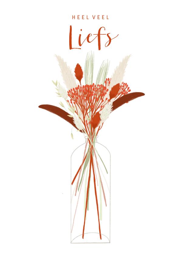 Valentijnskaarten - Hippe valentijnskaart rode droogbloemen in vaas liefs