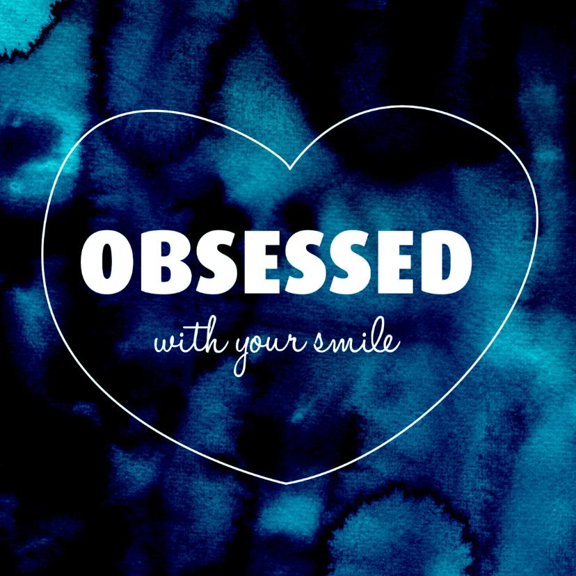 Valentijnskaarten - I love you smile Valentijn blauw