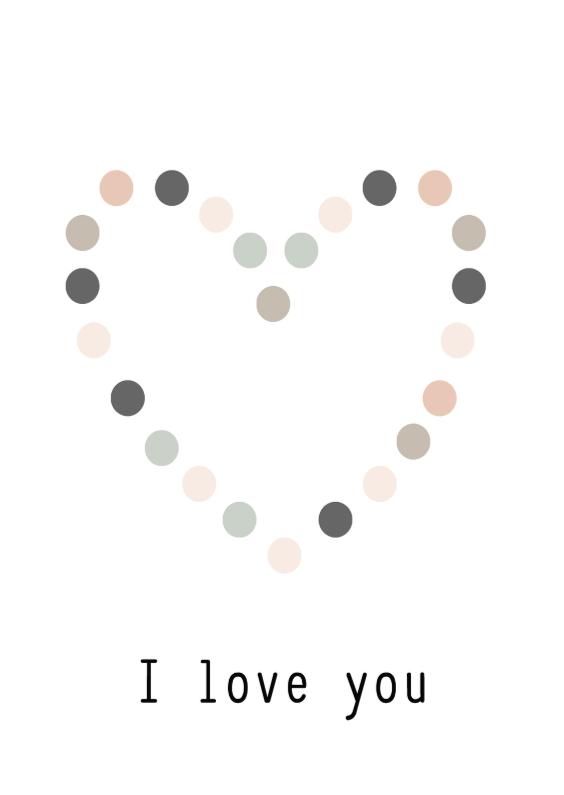 Valentijnskaarten - Kaart hart I love you