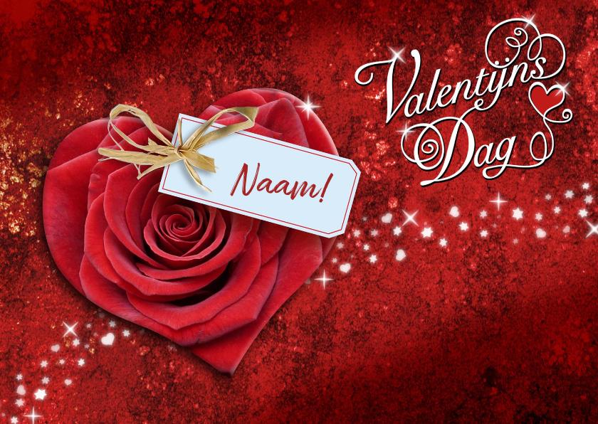 Valentijnskaarten - Leuke valentijnskaart met hart en labeltje met naam