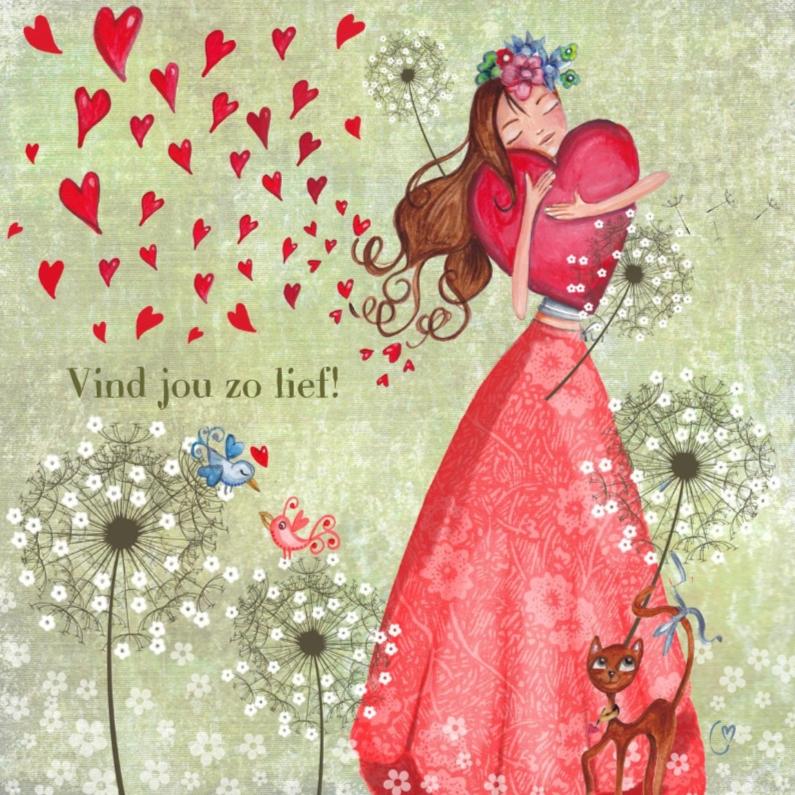 Valentijnskaarten - Lief meisje rode hartjes
