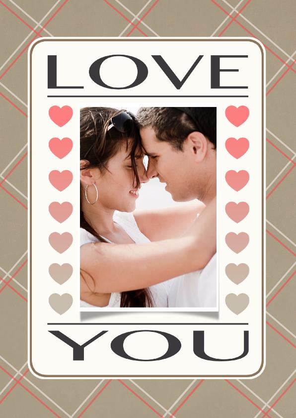Valentijnskaarten - Liefdeskaart Love You bruin - BK