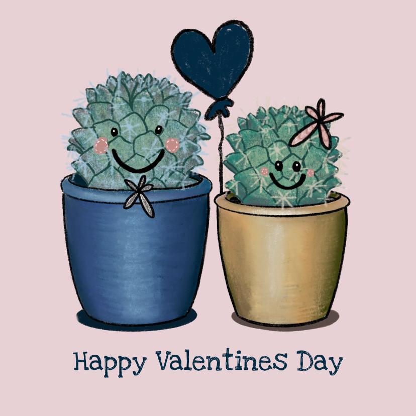 Valentijnskaarten - Liefdevolle valentijnskaart met illustratie van cactussen