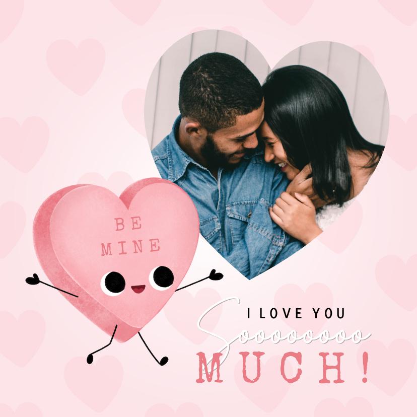 Valentijnskaarten - Lieve Valentijnskaart met foto, snoephartje en hartjes