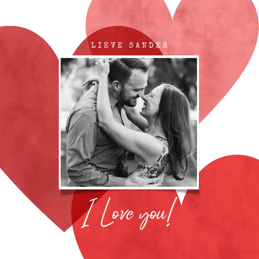 Valentijnskaarten - Lieve valentijnskaart met hartjes, foto en I love you!