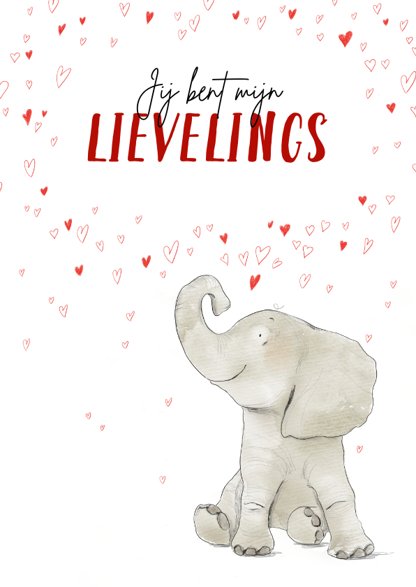 Valentijnskaarten - Lieve valentijnskaart met olifant en hartjesregen