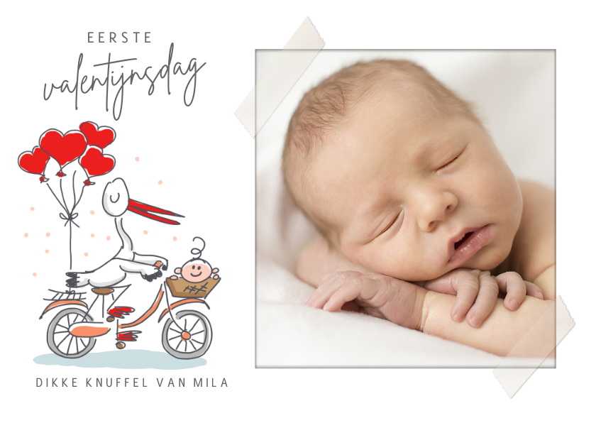 Valentijnskaarten - Mijn eerste valentijnsdagkaart met ooievaar en baby