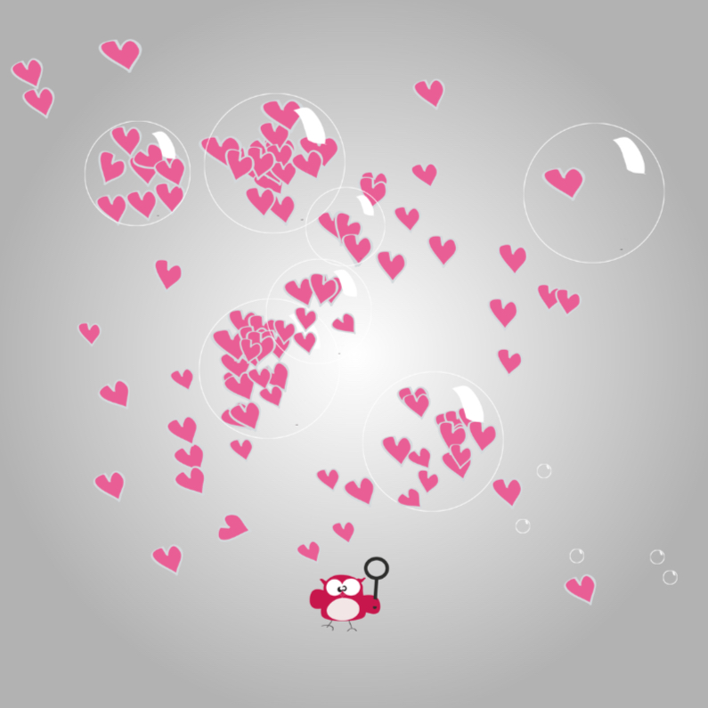 Valentijnskaarten - Mo Card valentijn uiltje bellenblaas
