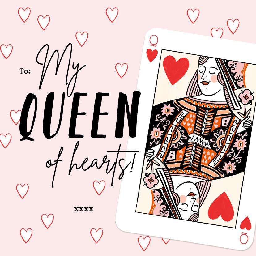 Valentijnskaarten - Originele kaart met hartenvrouw en kleine hartjes