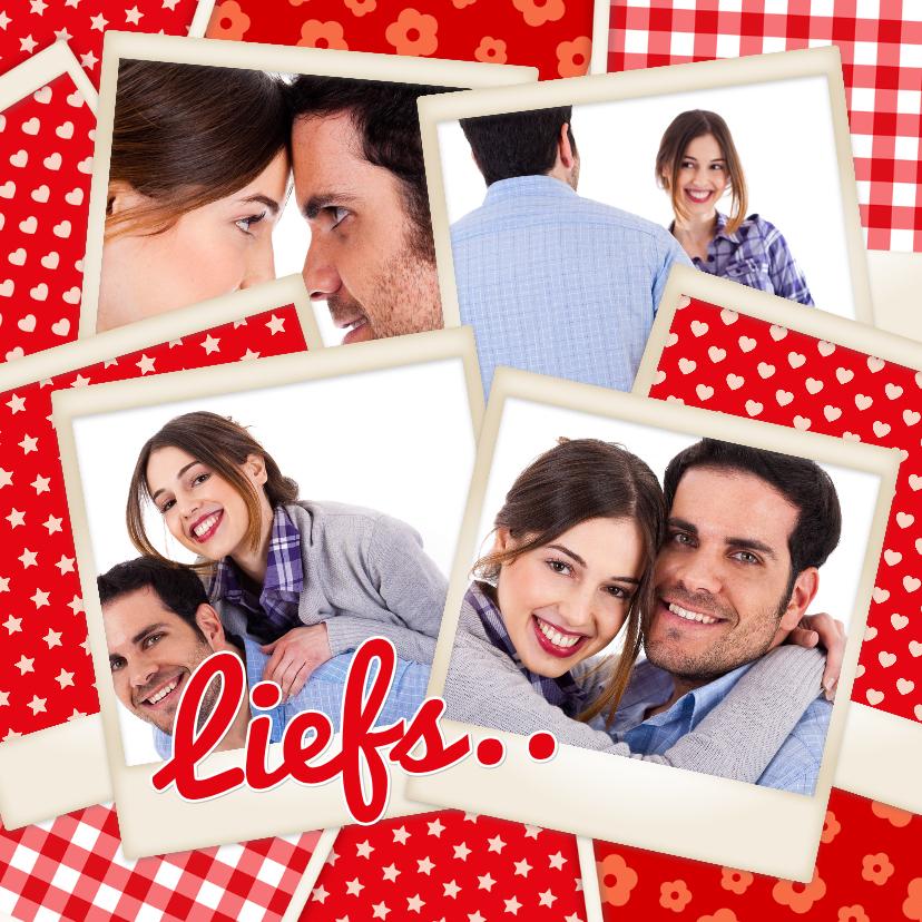 Valentijnskaarten - Polaroid stapel vrolijk Liefs