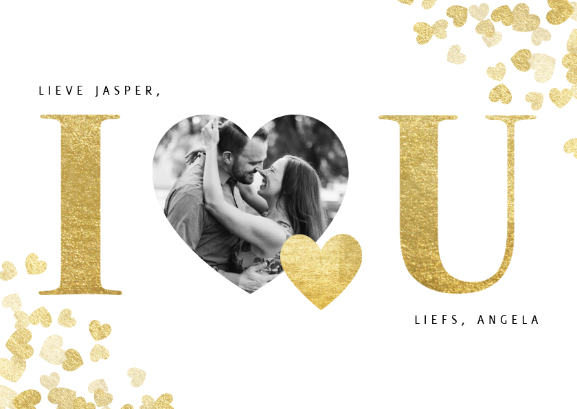 Valentijnskaarten - Stijlvolle 'I love u' valentijnskaart met gouden hartjes
