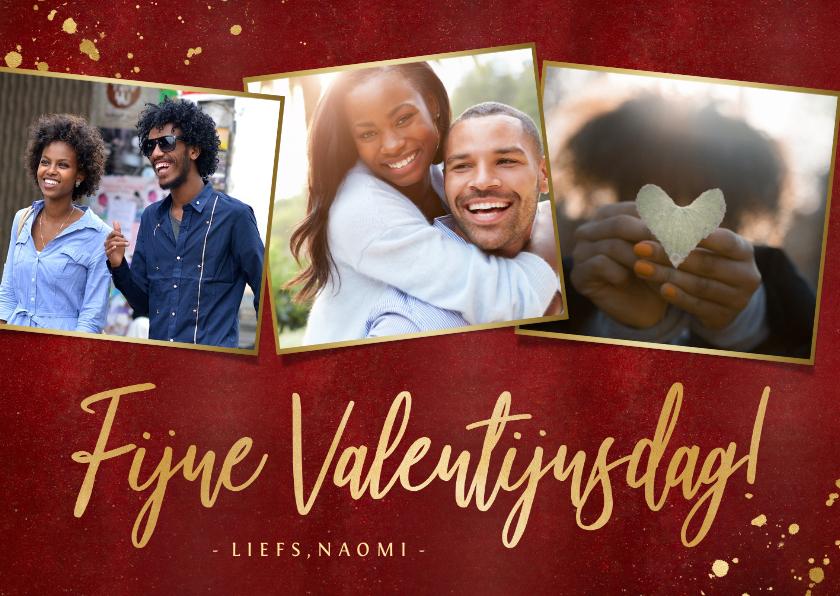 Valentijnskaarten - Stijlvolle rode valentijnskaart met fotocollage en goud