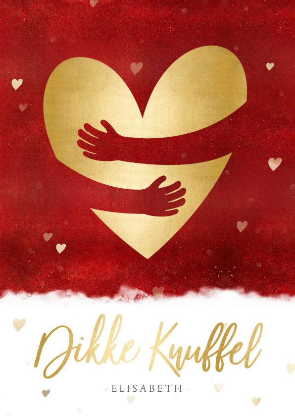 Valentijnskaarten - Stijlvolle valentijnskaart met gouden hart en knuffel