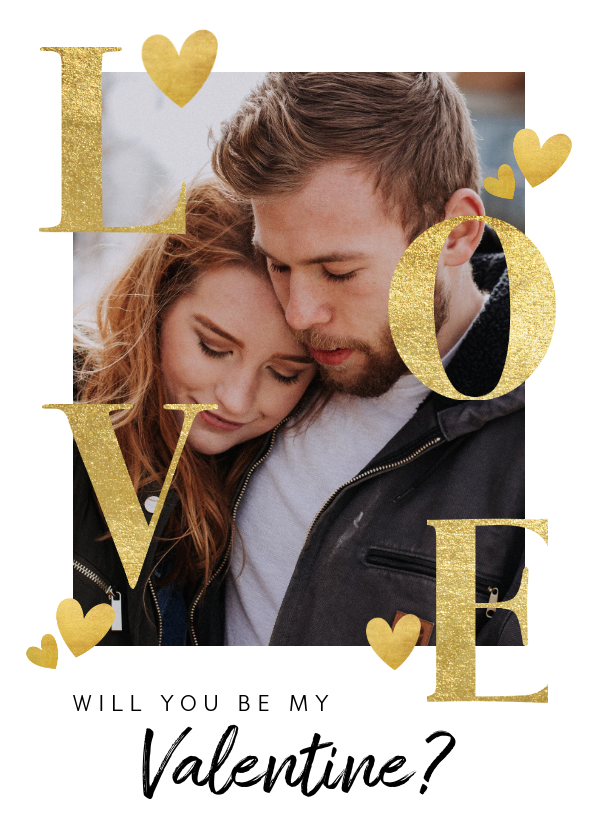 Valentijnskaarten - Stijlvolle valentijnskaart met gouden typografie en hartjes