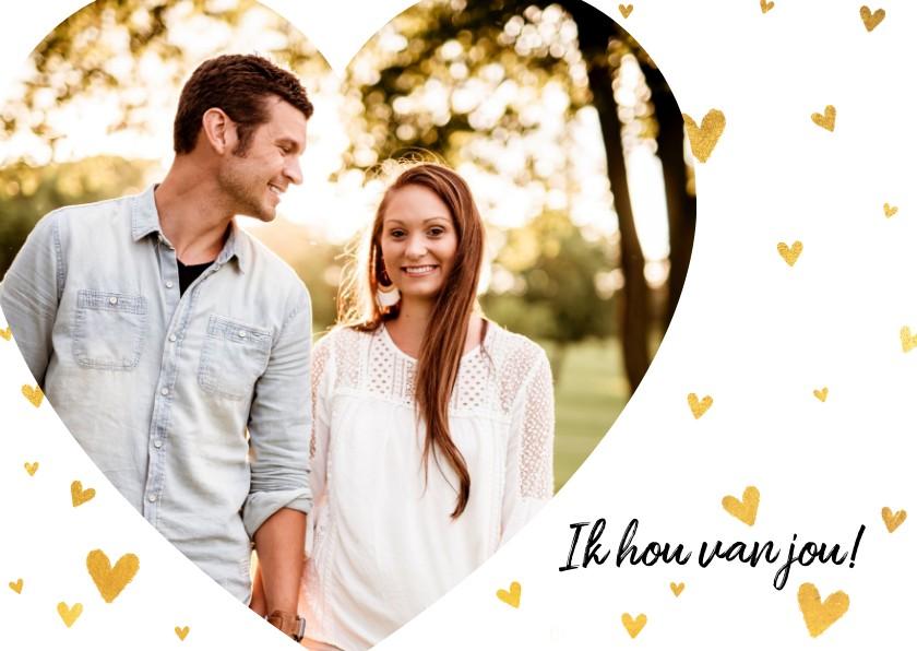 Valentijnskaarten - Stijlvolle valentijnskaart met grote foto en gouden hartjes