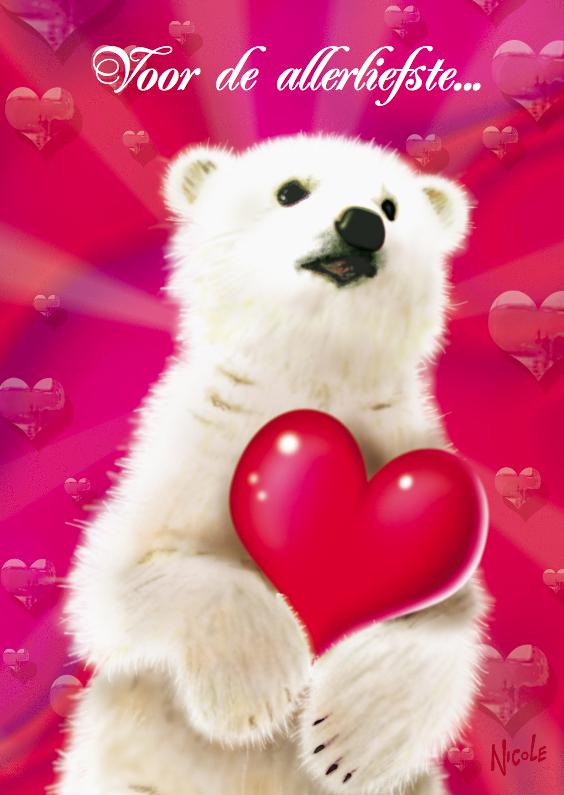 Valentijnskaarten - valentijn 3 ijsbeertje met hart