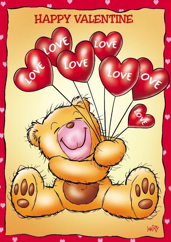 Valentijnskaarten - valentijn 7 beertje met hartjesballonnen