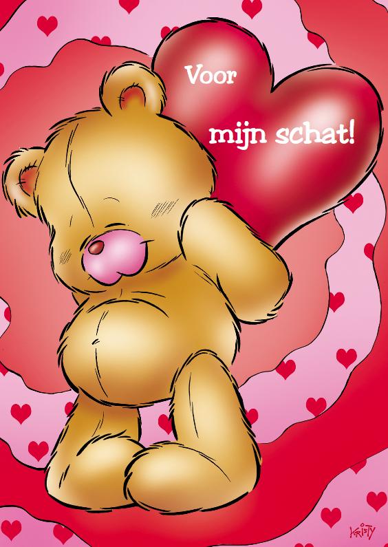 Valentijnskaarten - Valentijn 8 beer met hart op rug