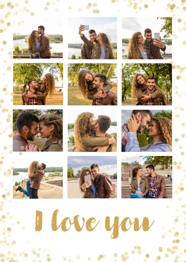 Valentijnskaarten - Valentijn collage 12 foto's met confetti