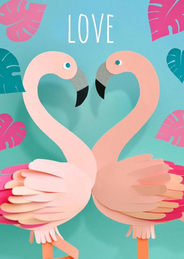 Valentijnskaarten - Valentijn flamingo's love
