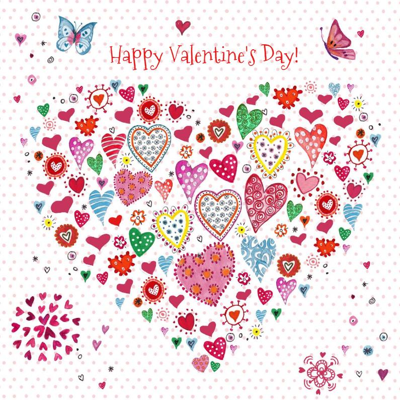 Valentijnskaarten - Valentijn hartjes hart Vrolijk