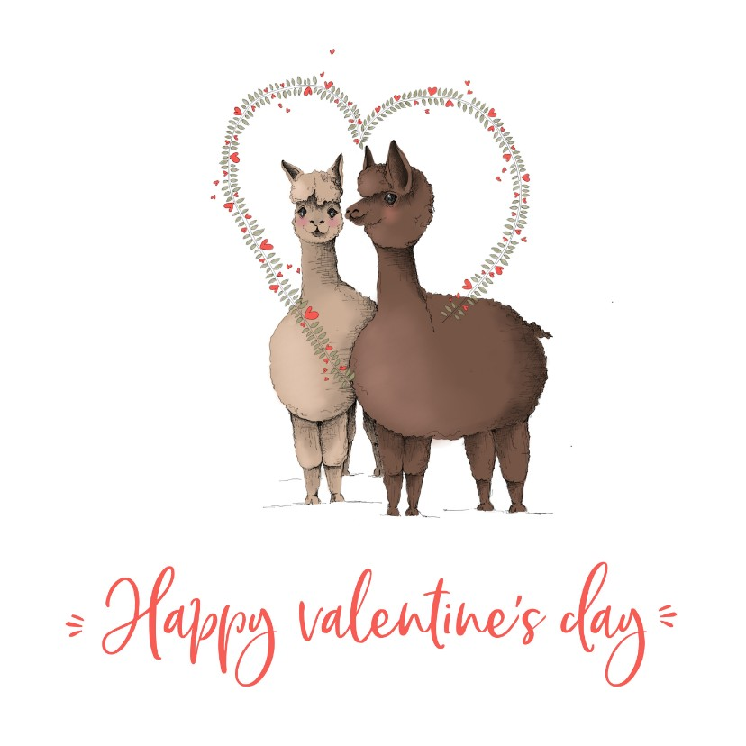 Valentijnskaarten - Valentijn - twee lama's happy valentine