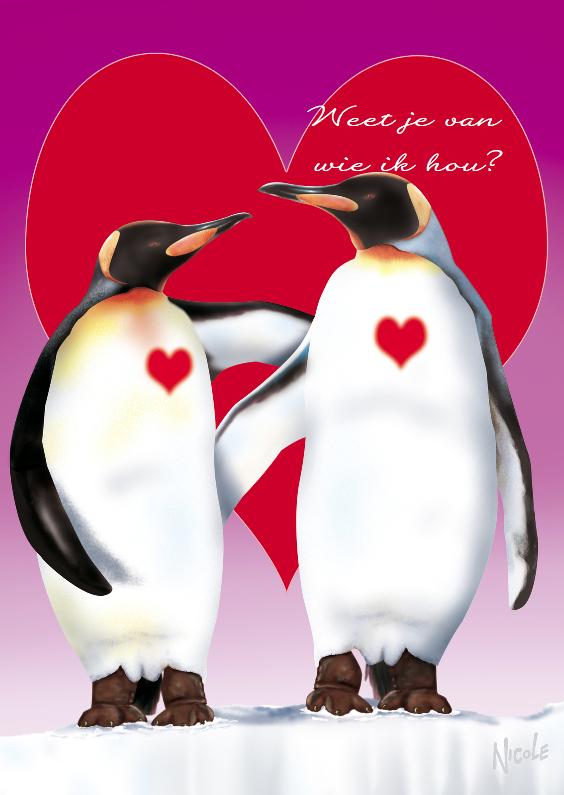 Valentijnskaarten - valentijn1 pinguins met groot hart