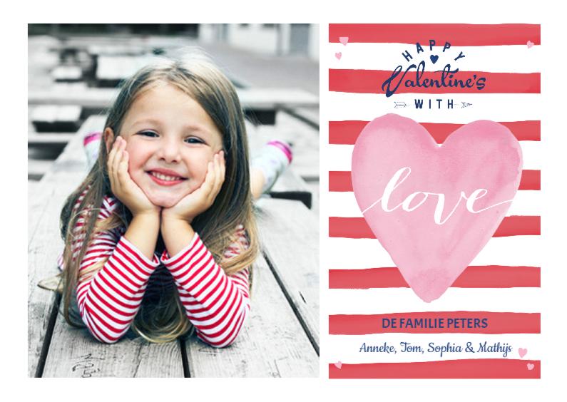 Valentijnskaarten - Valentijns Strepen Hart Love