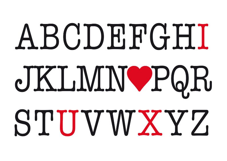 Valentijnskaarten - Valentijnskaart alfabet liefde