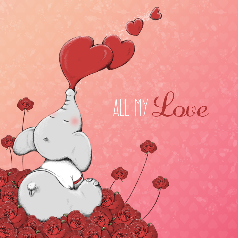 Valentijnskaarten - Valentijnskaart all my love - IH