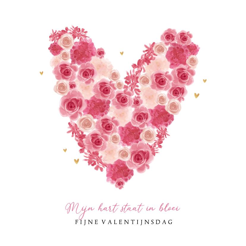 Valentijnskaarten - Valentijnskaart bloemen hartjes goud foto lief