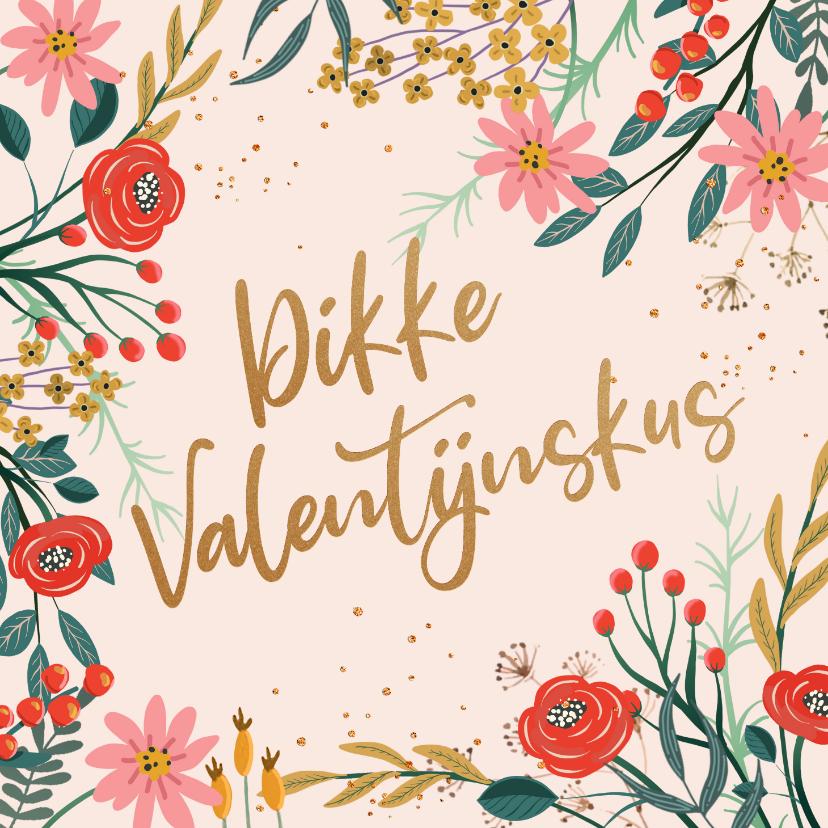 Valentijnskaarten - Valentijnskaart bloemen rood