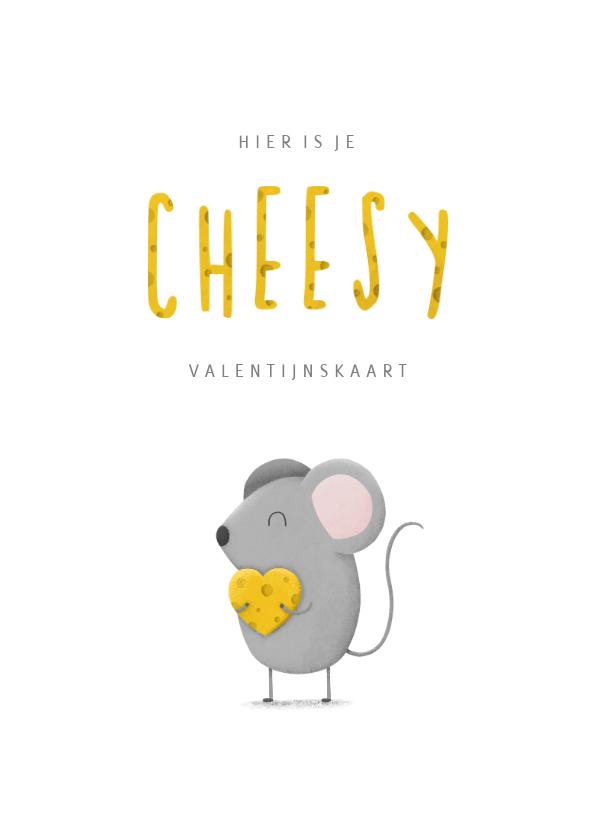 Valentijnskaarten - Valentijnskaart cheesy met muisje en kaas