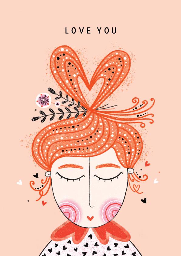 Valentijnskaarten - Valentijnskaart dame hart van haar