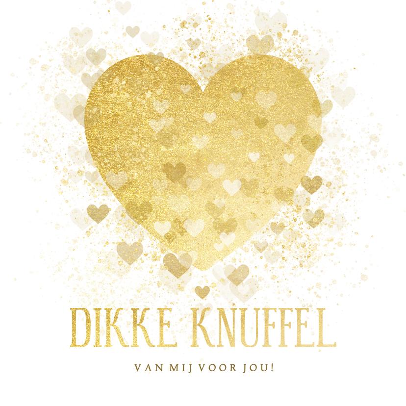 Valentijnskaarten - Valentijnskaart dikke knuffel gouden hart
