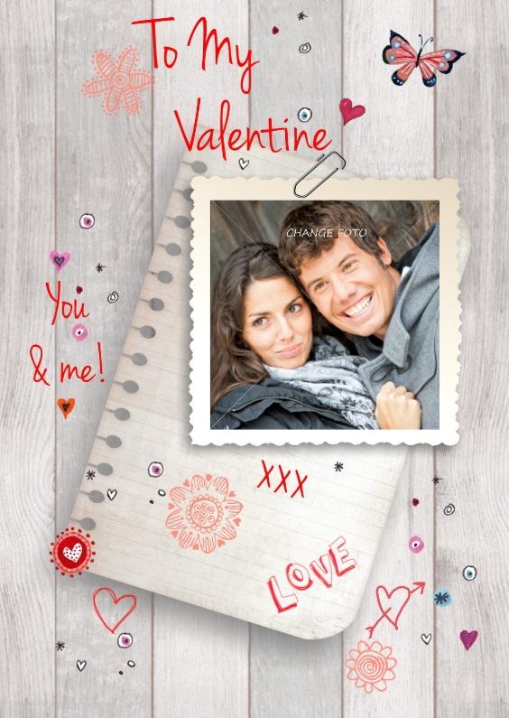 Valentijnskaarten - Valentijnskaart eigen foto Liefde Hout