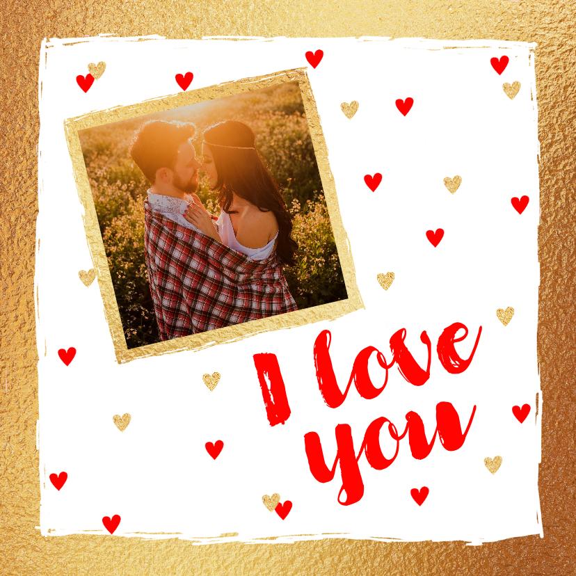 Valentijnskaarten - Valentijnskaart foto hartjes goud rood