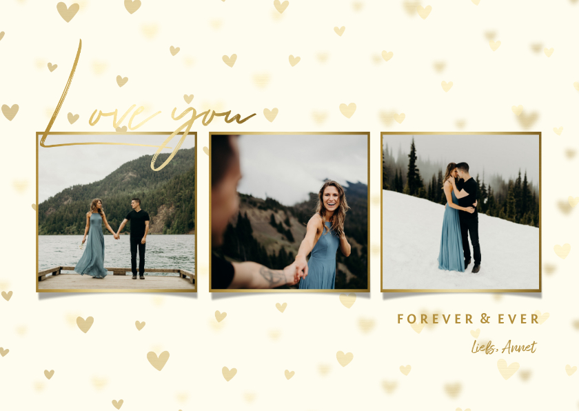 Valentijnskaarten - Valentijnskaart fotocollage hartjes achtergrond
