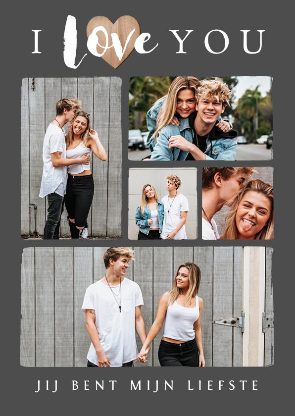 Valentijnskaarten - Valentijnskaart fotokaart fotocollage hartje hout