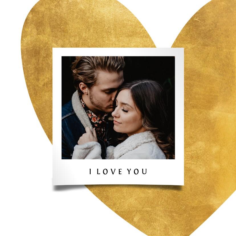 Valentijnskaarten - Valentijnskaart gouden hart met foto
