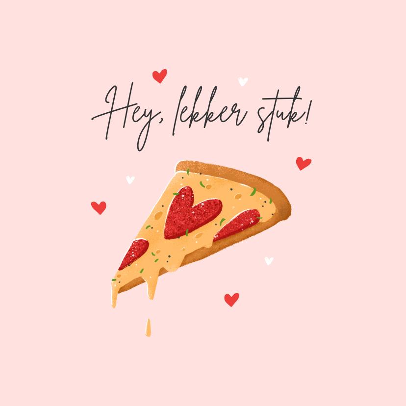 Valentijnskaarten - Valentijnskaart grappig pizza eten lekker stuk hartjes