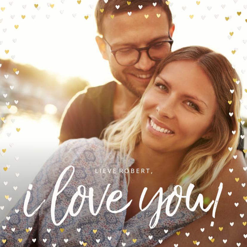 Valentijnskaarten - Valentijnskaart grote foto met goudlook hartjeskader