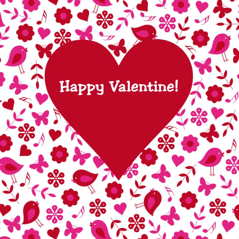 Valentijnskaarten - Valentijnskaart hart bloemen vogeltjes