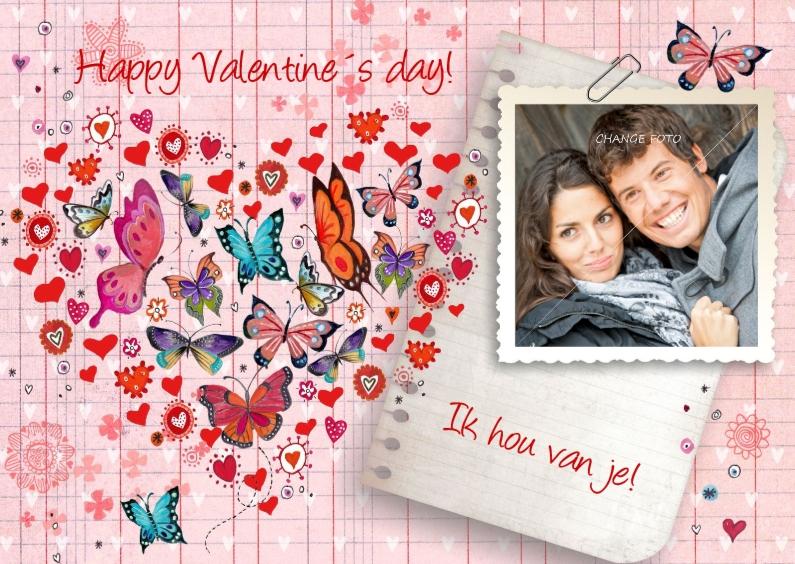 Valentijnskaarten - Valentijnskaart Hart Vlinder Ruitje Foto